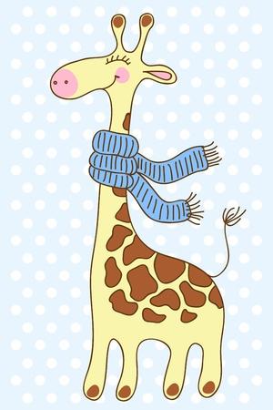 Cute happy Giraffe with a scarf Stock Vector - 17374392