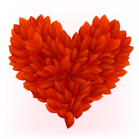 Beautiful heart made from red petals