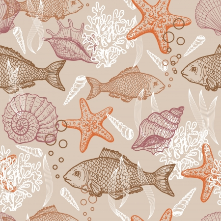 saltwater fish: Sea disegnato a mano senza soluzione di continuit? Vettoriali