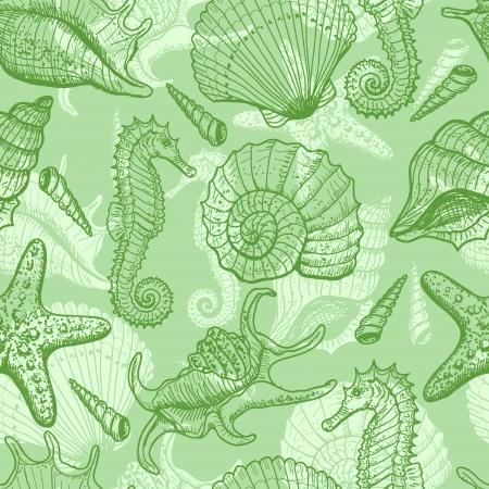 sea horse: Sea hand drawn seamless pattern