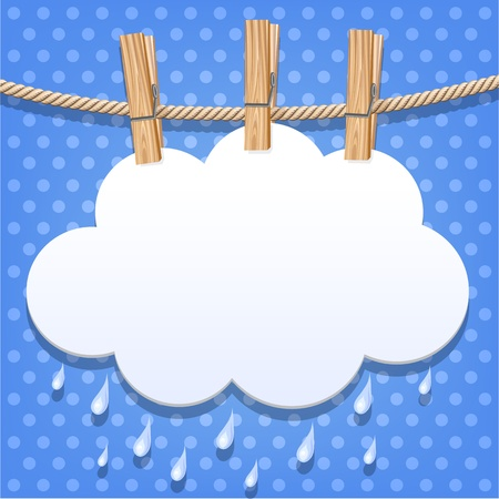 rainy season: White paper cloud on a clothesline Illustration