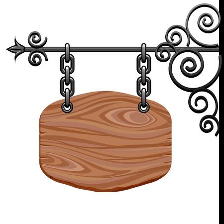 Wooden signboard Stock Vector - 18995429