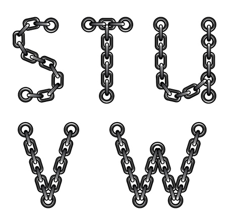 chained: Chained alphabet Illustration