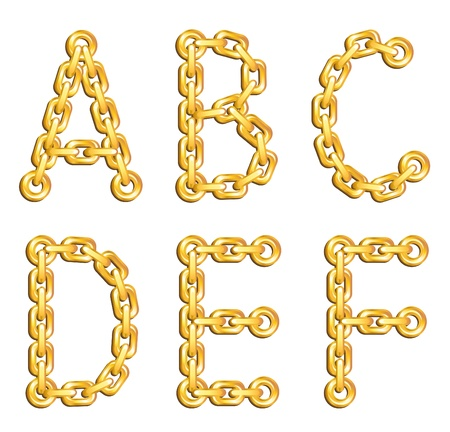 chained: Golden chained alphabet