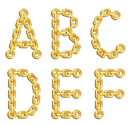 geketend: Gouden geketend alfabet Stock Illustratie