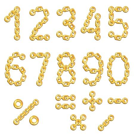 geketend: Gouden geketende cijfers