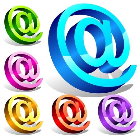 Set of 3d email symbols Stock Vector - 18995487
