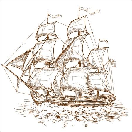 Weinlese-Segelboot