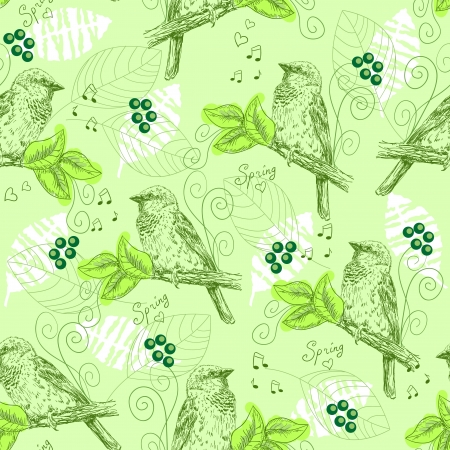 Vintage seamless pattern with sparrows Vector