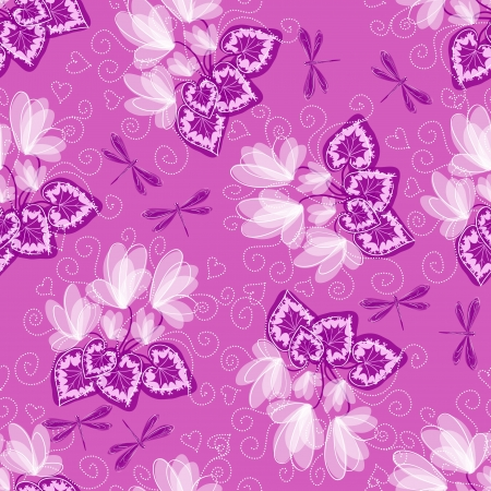 cyclamen: Seamless floral background with cyclamen and dragonfly