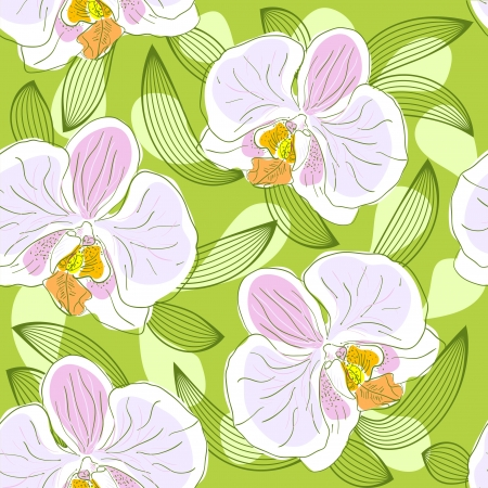 Seamless floral pattern with orchids Vector