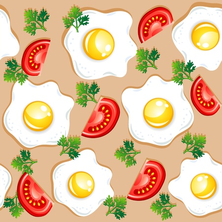 fried food: Seamless breakfast pattern with fried eggs and tomatoes Illustration