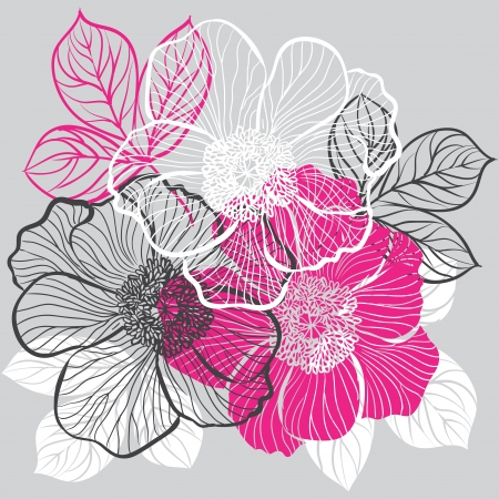 pink and black: Floral background with flowers of peony