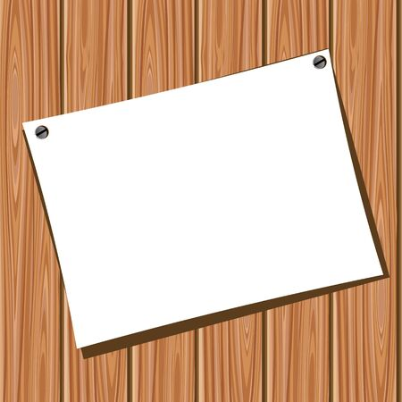 rusty nail: Paper on a wooden wall Illustration