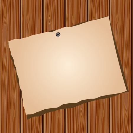 Paper on a wooden wall Vector