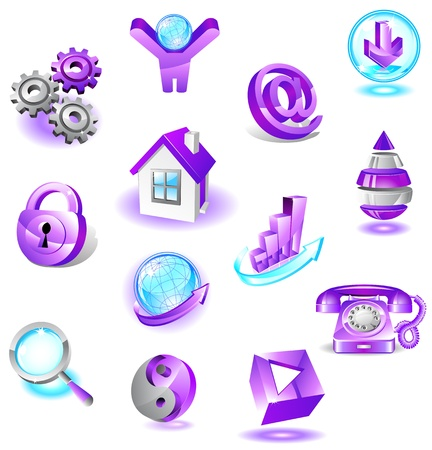 Set of violet web icons Stock Vector - 19296893