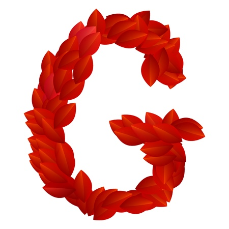 Letter G of alphabet made from red petals