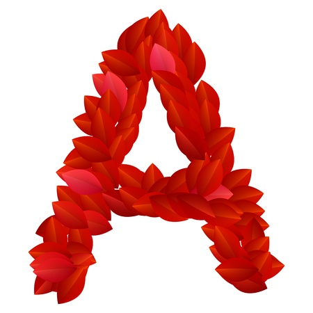 Letter A of alphabet made from red petals Vector