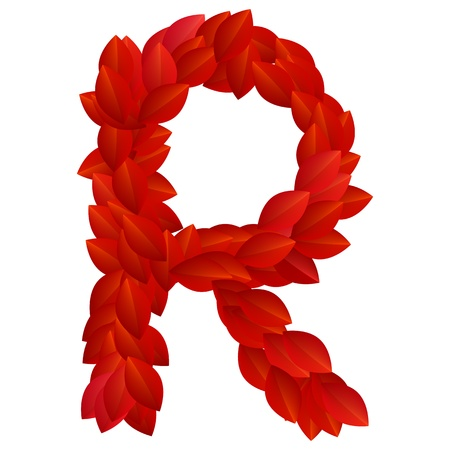 Letter R of alphabet made from red petals Vector