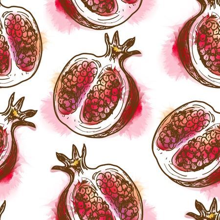 Seamless pattern with pomegranate  Painted in watercolor style
