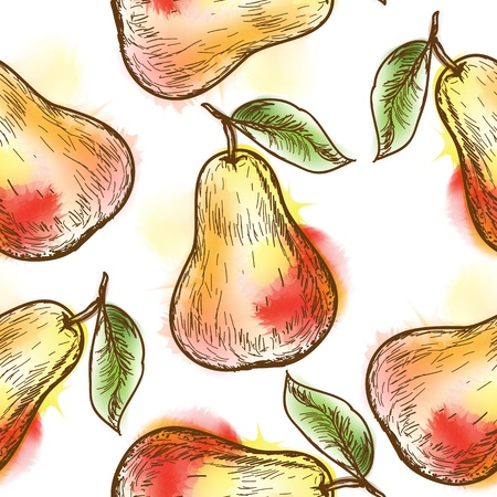 Seamless pattern with pear  Painted in watercolor style Vector