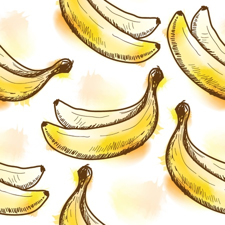 Seamless pattern with banana  Painted in watercolor style Vector