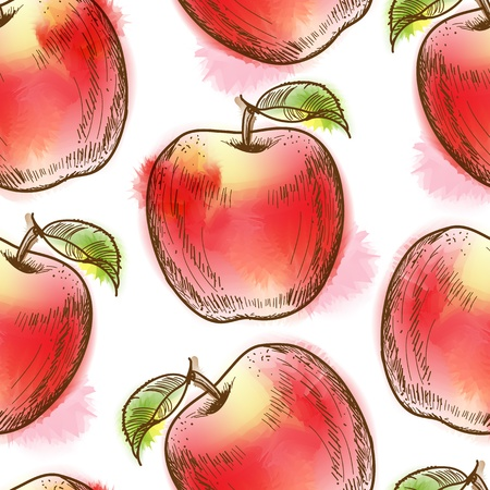 Seamless pattern with red apple  Painted in watercolor style Vector