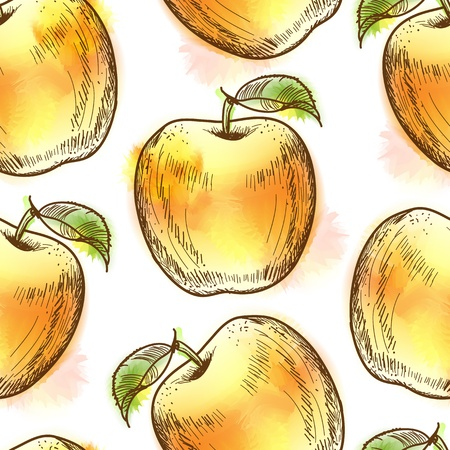 Seamless pattern with yellow apple  Painted in watercolor style Vector