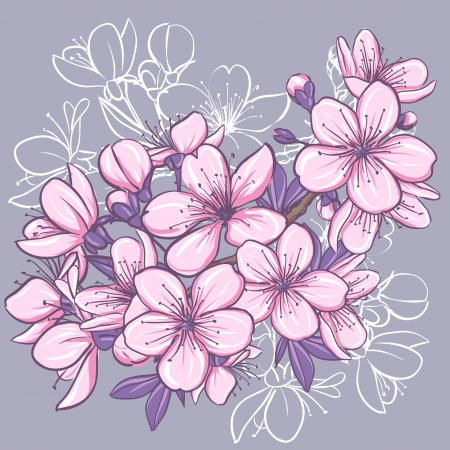 Cherry blossom  Decorative floral illustration of sakura flowers