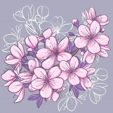 flor de sakura: La flor de cerezo ilustración floral decorativo de las flores de sakura