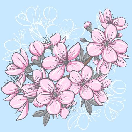 Kersenbloesem Decoratieve bloemen illustratie van sakurabloemen