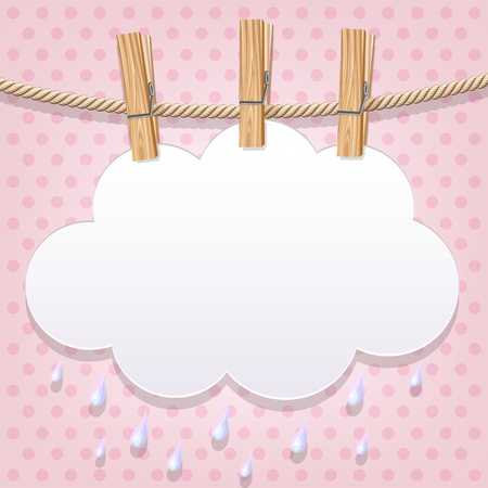 clothespin: White paper cloud on a clothesline Illustration