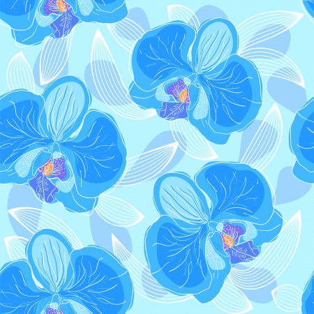 Seamless floral pattern orchids Vector