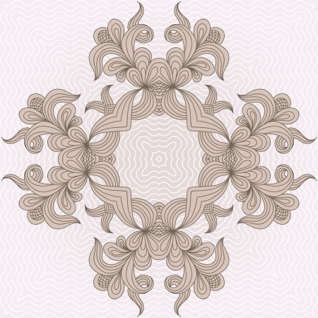 Circle ornament. Ornamental round geometric lace pattern in vintage style Illustration