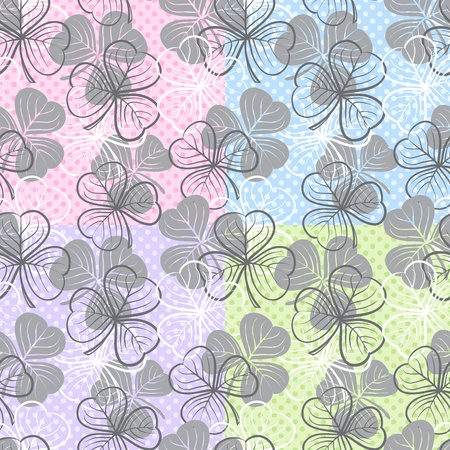 three leaf clover: Seamless floral pattern with three leaf clover