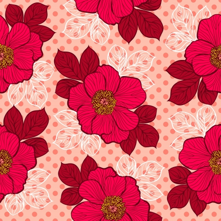 Decorative seamless floral pattern with flowers of peony Stock Vector - 21526727