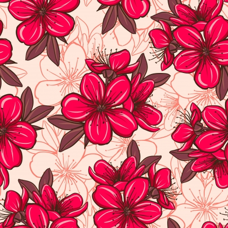 Decorative floral seamless pattern with plum blossom Vector
