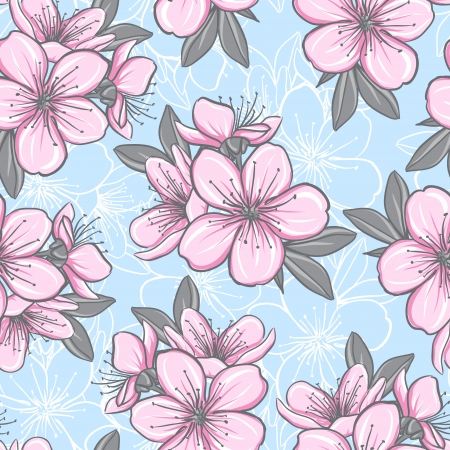 Decorative floral seamless pattern with cherry blossom Vector