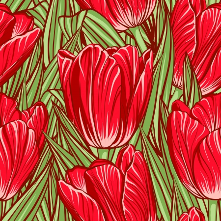 Decorative floral seamless pattern with flowers of tulips Vector