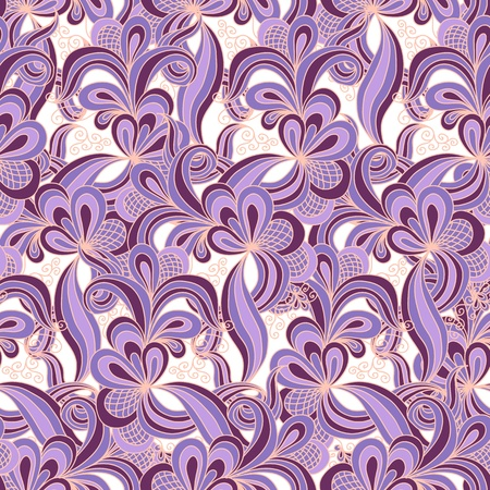 Seamless abstract hand drawn pattern in violet colors Vector