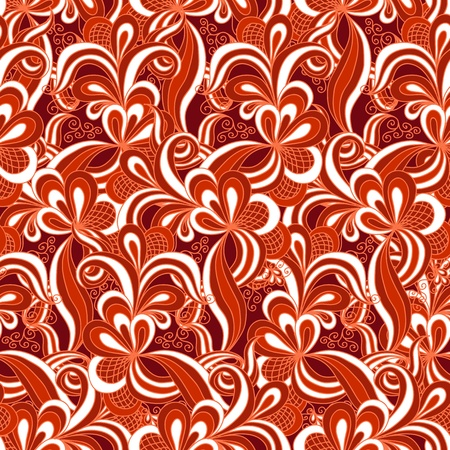 Seamless abstract hand drawn pattern in red colors Vector