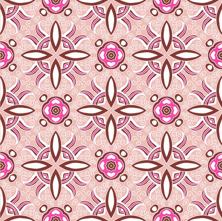 pink and brown background: Ornamental seamless lace pattern in vintage style