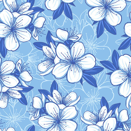 blue flowers: Decorative floral seamless pattern with cherry flowers in blue colors Stock Photo