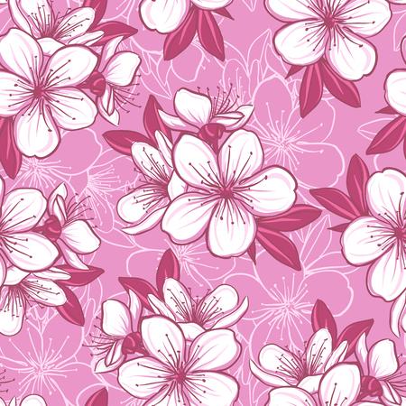 cerisier fleur: Décoratif, seamless, floral avec des fleurs de cerisier