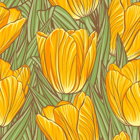 Decorative floral seamless pattern with flowers of tulips photo