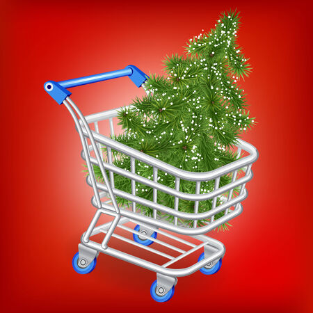 Christmas tree in a shopping cart on a red background photo
