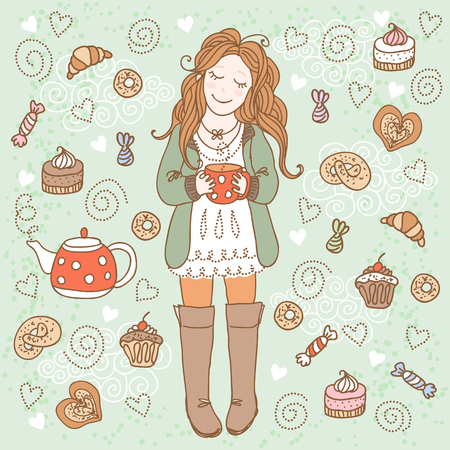happy birthday girl: Girl with a cup of tea and many delicious sweets Stock Photo