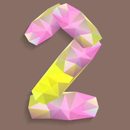 Geometric crystal font. Digit 2 photo