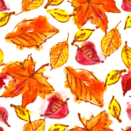 orenge: Abstract watercolor seamless pattern with autumn leaves