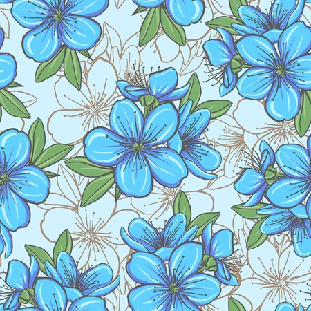 blue flowers: Decorative floral seamless pattern with blue flowers